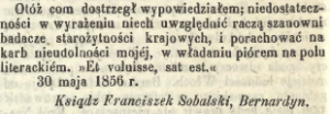 1856_gazetaWarszawska_ks_Sobalski_korespondent_a